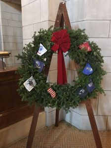 The wreath that will be on display in the Capitol building throughout the holidays. This large wreath was sent by Wreaths Across America.