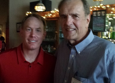 Homestead Days in Beatrice - Third Thursday event at the Black Crow with Husker coaches and AD in attendance. Good conversations with Beatrice Asst. HS Principal/FB Coach Bob Sexton, Coach Mike Riley, AD Shawn Eichorst; and good talk by Coach John Cook to the group.