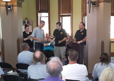 "Prairie Gold Homes (PGH) held a graduation ""ceremony"" on Tuesday at the Beatrice Chamber of Commerce offices. This was a graduation for several of the men currently working on the house on Ella Street."